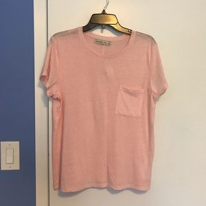 Pink tissue-t, crew neck with front pocket NWT